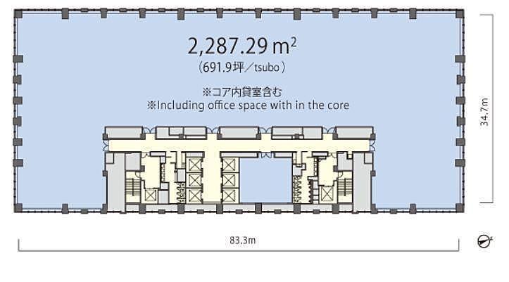 丸の内トラストタワーN館 14階 平面図