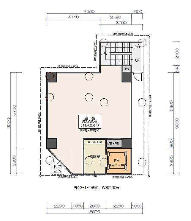 (仮称)神保町3丁目 計画 新築工事 1階(店舗限定)の間取り画像