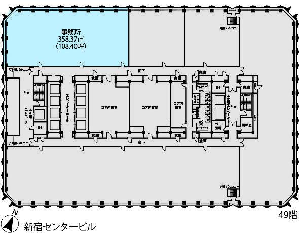 新宿センタービル 49階N-1-1の間取り画像
