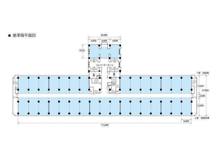 センタービル(TRC・東京流通センター/平和島) 基準階1区画(約26~27坪)の間取り画像