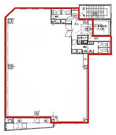 アネラビル(旧:(仮称)中央区東日本橋3丁目計画) 6階(店舗可)の間取り画像