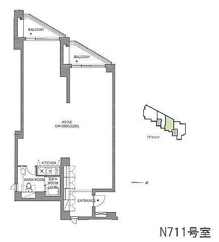 アークヒルズエグゼクティブタワー 7階N711(SOHO)の間取り画像