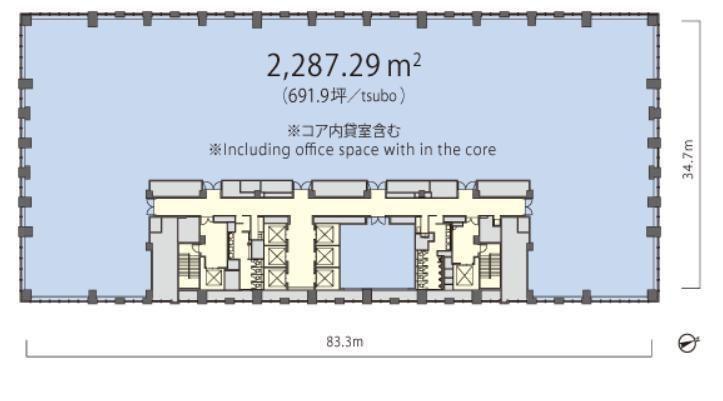丸の内トラストタワーN館 13階の間取り画像