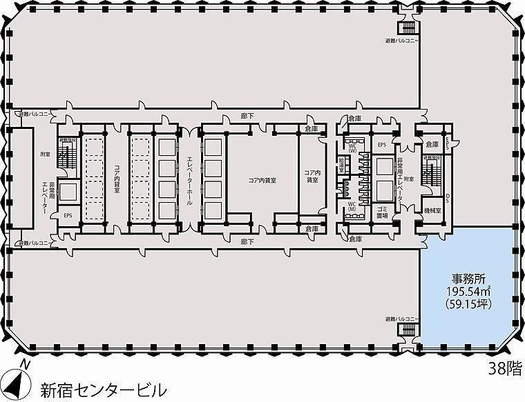 新宿センタービル 38階E-2の間取り画像