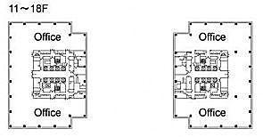 テレコムセンタービル 西棟18階 平面図