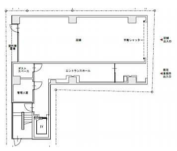 KAMAYAビル(中央区) 1階(店舗可)の間取り画像