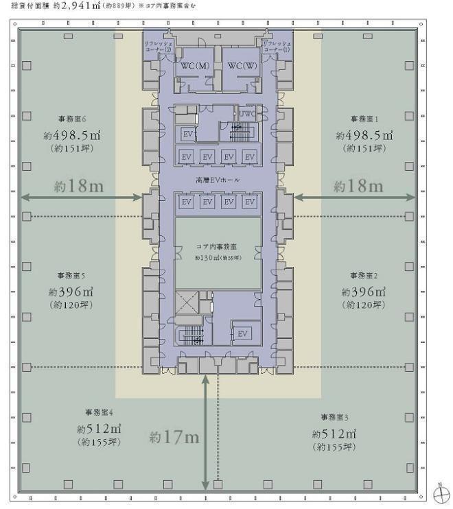 KANDA SQUARE(神田スクエア) 18階の間取り画像