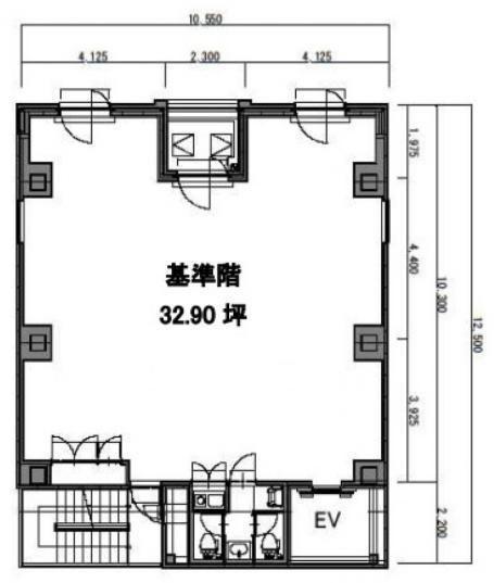 八丁堀鈴らん通りビル 3階(店舗可)の間取り画像