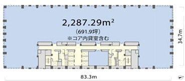 丸の内トラストタワーN館 12階 平面図