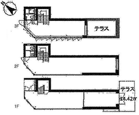 第20スカイビルANNEX 1階~3階(一棟貸・店舗可)の間取り画像