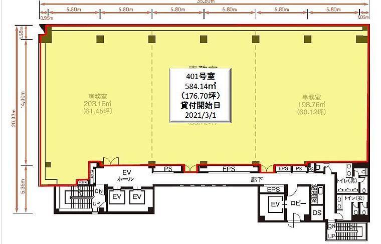 NBF東銀座スクエア 4階401の間取り画像