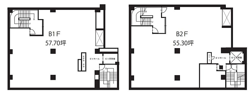 新橋第二中ビル 地下2階~地下1階 平面図