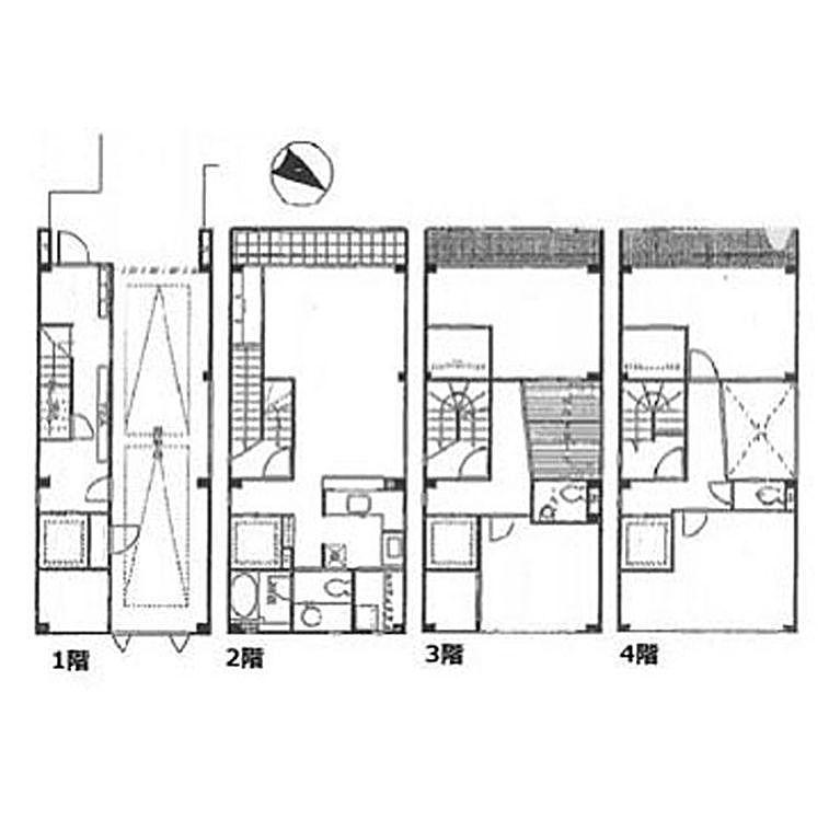 日本橋戸建住宅(旧:ギントモビル) 4SLDK+3WIC(一棟貸)の間取り画像