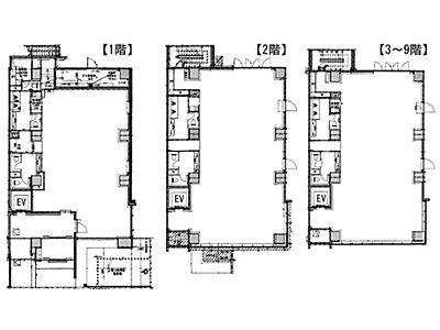 1階~9階(一棟貸)の間取り画像