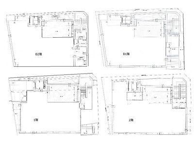 Zet MINAMIAOYAMA 地下2階~2階(一棟貸・店舗限定)間取りのサムネイル画像