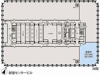 新宿センタービル 38階E-2間取りのサムネイル画像