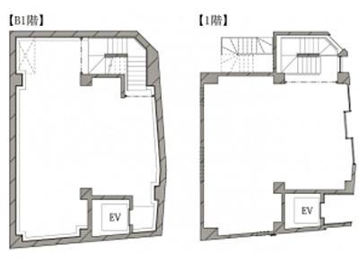 地下1階~1階(店舗限定)の間取り画像