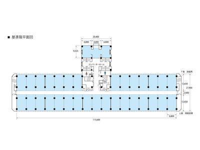 基準階1フロア(約940坪)の間取り画像