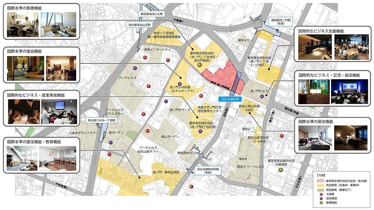 虎ノ門周辺開発における都市機能について。虎ノ門ステーションタワーを中心として見た図。