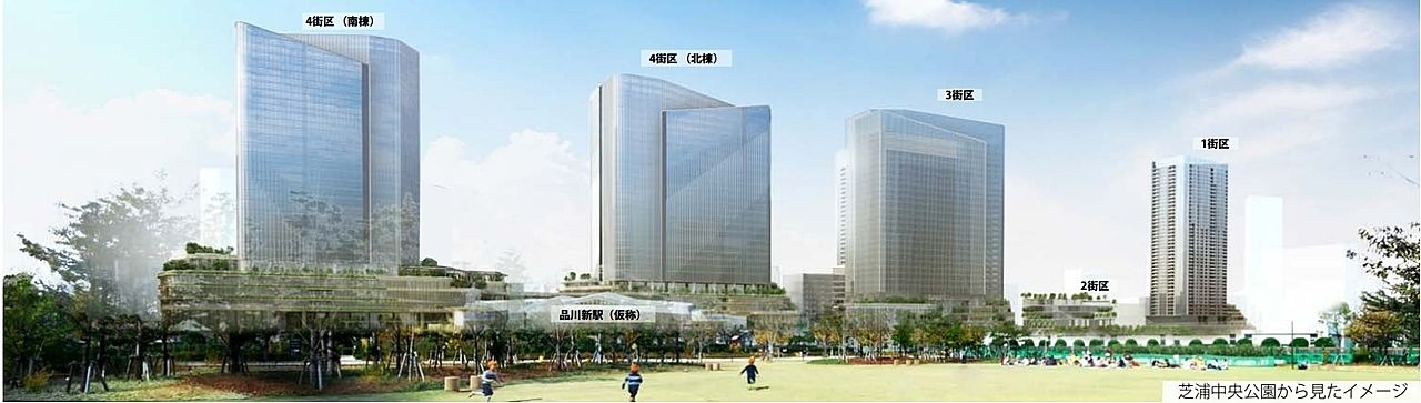 品川開発プロジェクト(第Ⅰ期)イメージパース 芝浦中央公園から見たイメージ