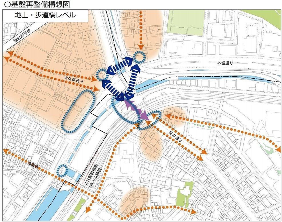 基盤再整備構想図(地上・歩道橋レベル) - 飯田橋駅周辺 基盤再整備構想(案)2020年7月