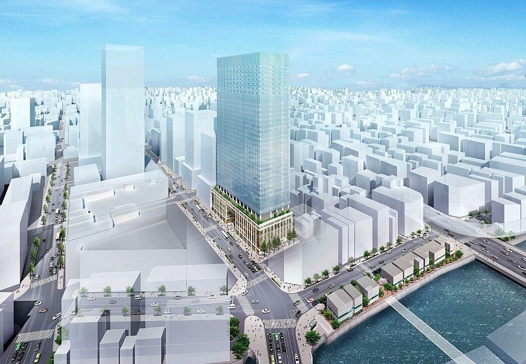 イメージパース(南西側から計画建物を望む)(日本橋室町一丁目地区)