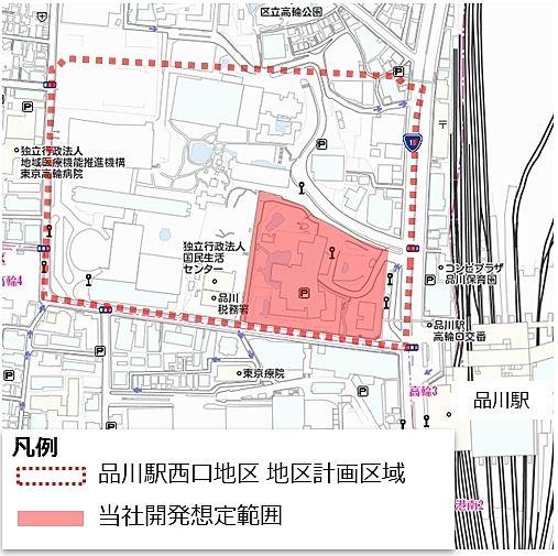 品川駅西口地区地区計画 地区計画区域と開発想定範囲