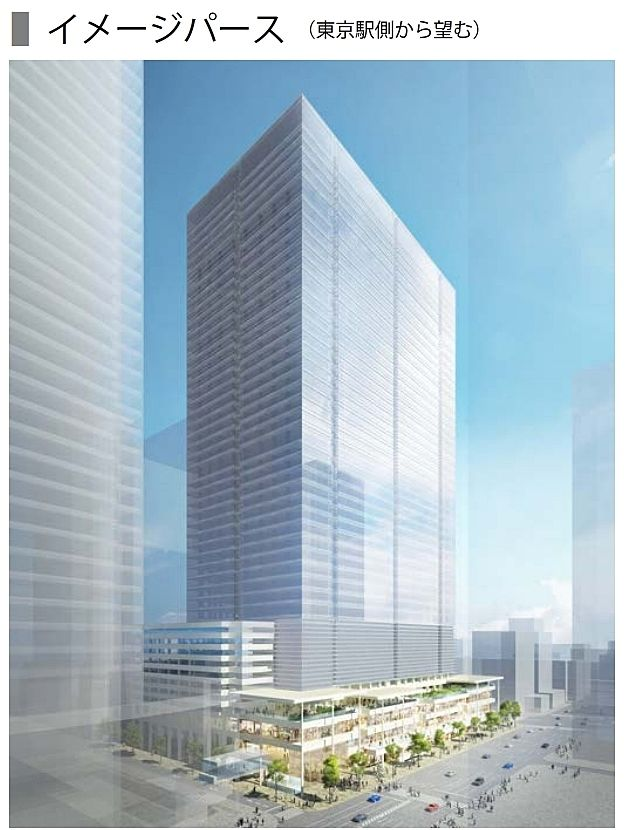 八重洲二丁目中地区第一種市街地再開発事業 竣工イメージパース(東京駅側から望む)