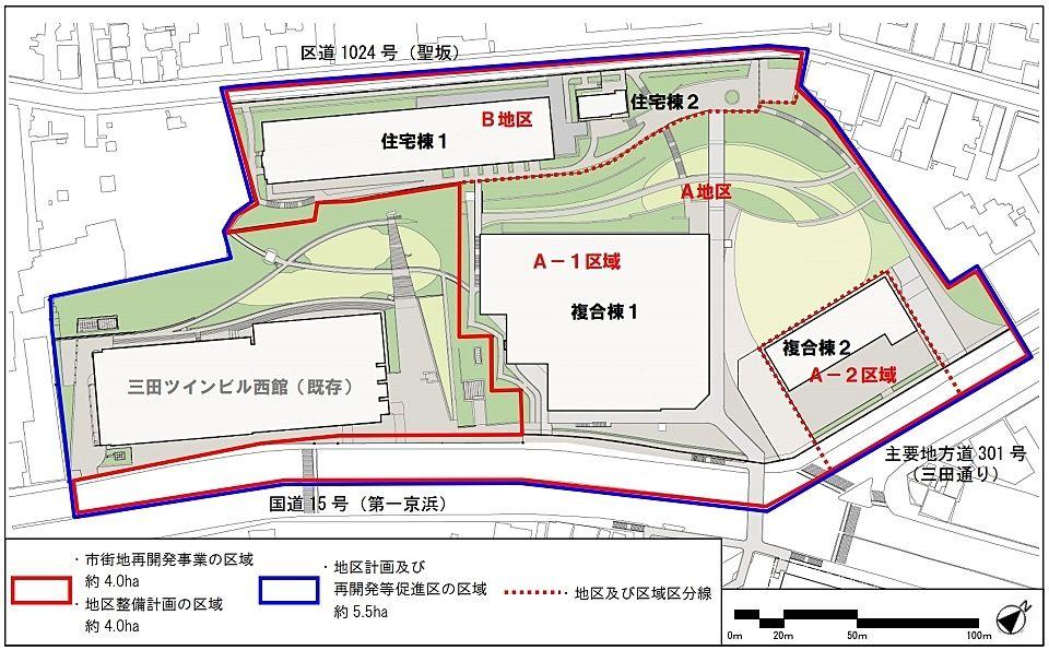三田三・四丁目地区再開発事業 配置図