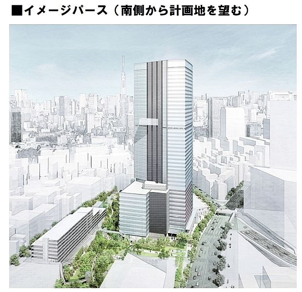 三田三・四丁目地区再開発事業 イメージパース 南側から計画地を望む