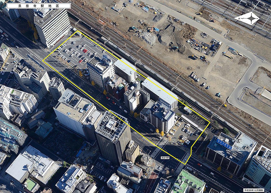 泉岳寺駅地区第二種市街地再開発事業 上空から見た開発エリア